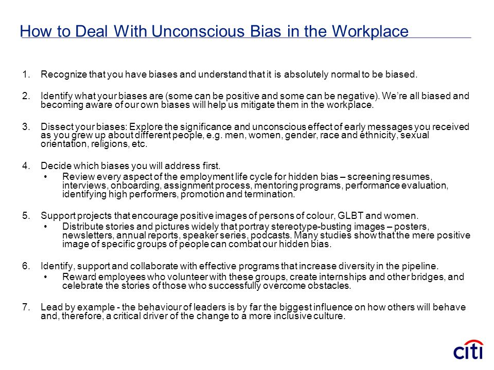 How to Deal With Unconscious Bias in the Workplace