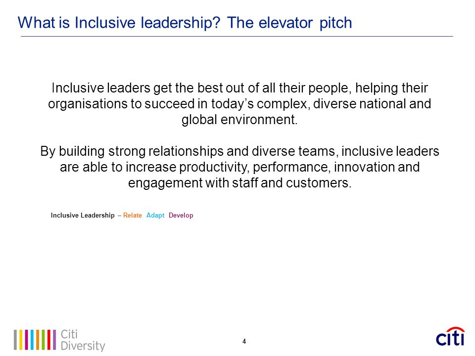 What is Inclusive leadership The elevator pitch