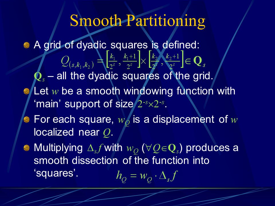 Smooth Partitioning A grid of dyadic squares is defined: