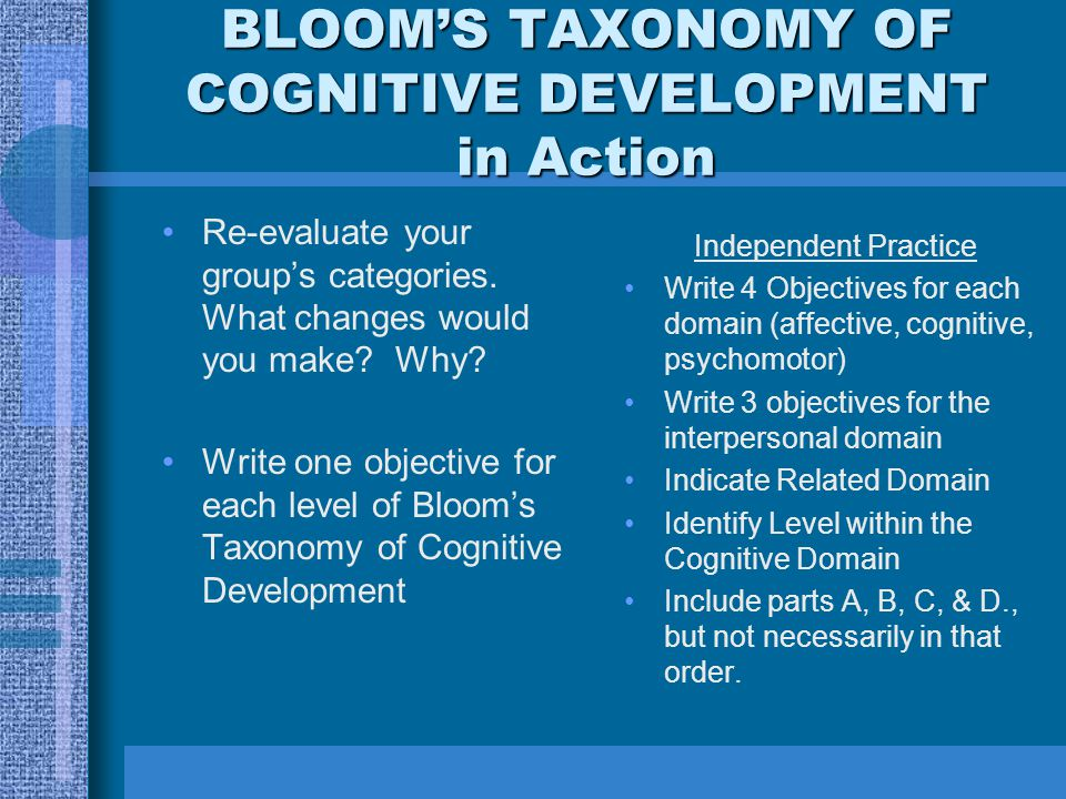 BLOOM'S TAXONOMY OF COGNITIVE DEVELOPMENT in Action