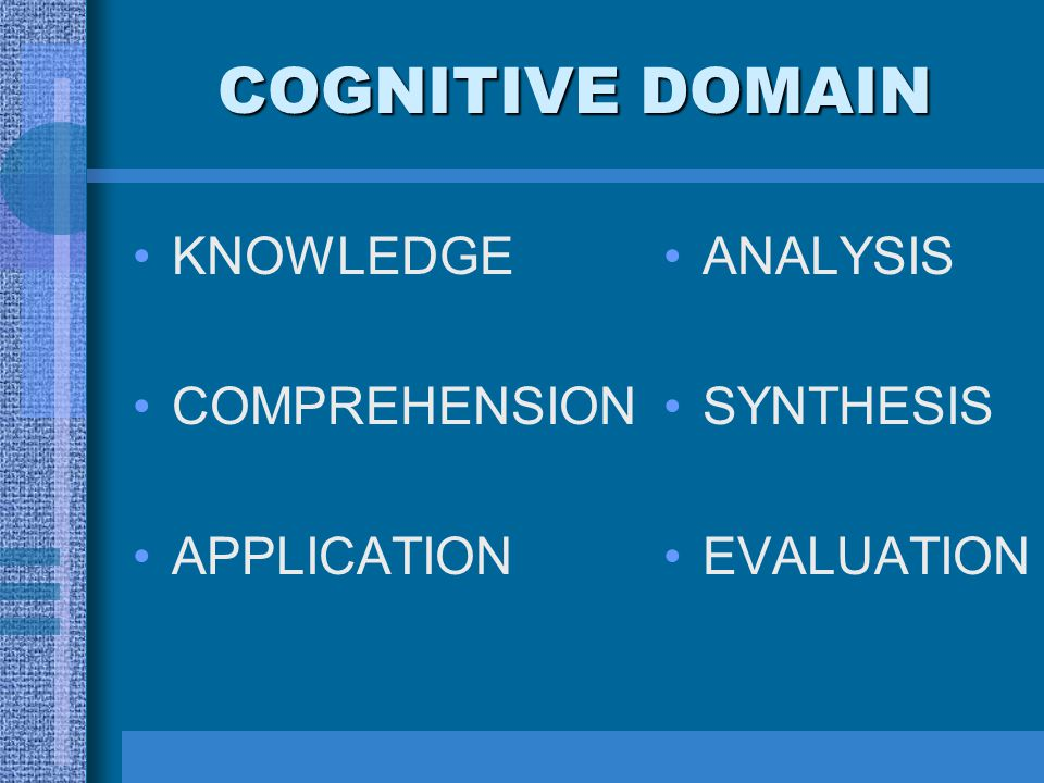 COGNITIVE DOMAIN KNOWLEDGE COMPREHENSION APPLICATION ANALYSIS