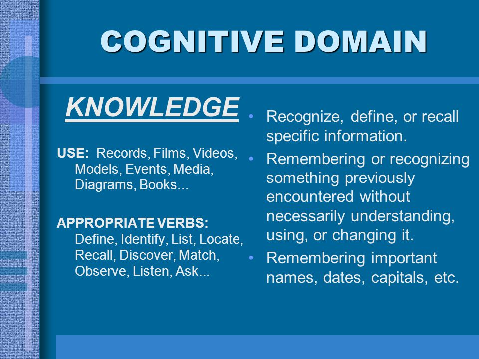 COGNITIVE DOMAIN KNOWLEDGE