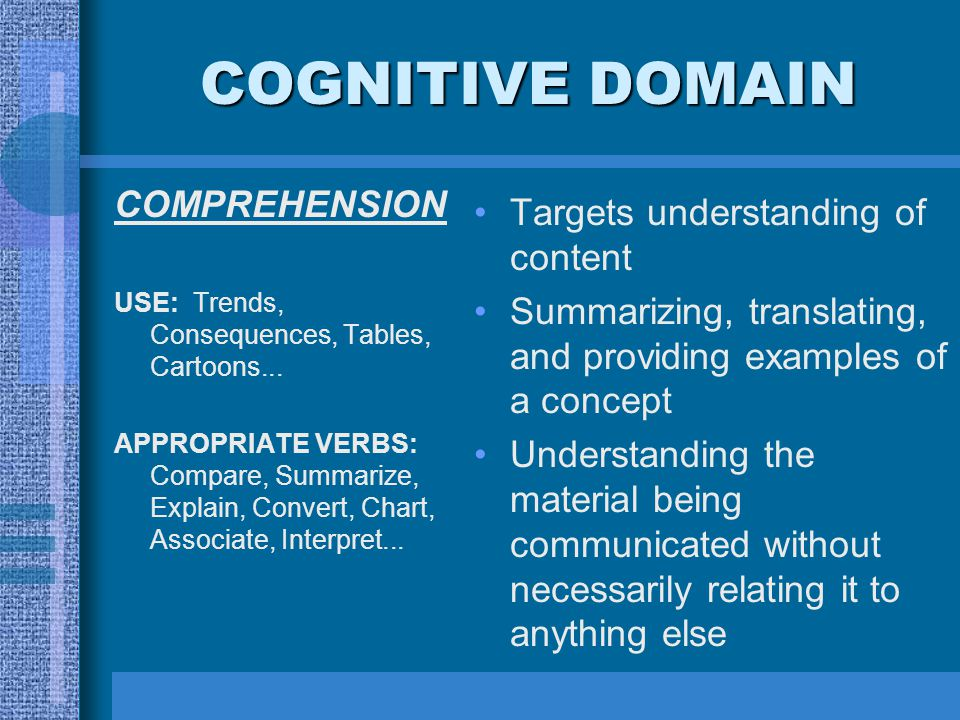 COGNITIVE DOMAIN COMPREHENSION Targets understanding of content
