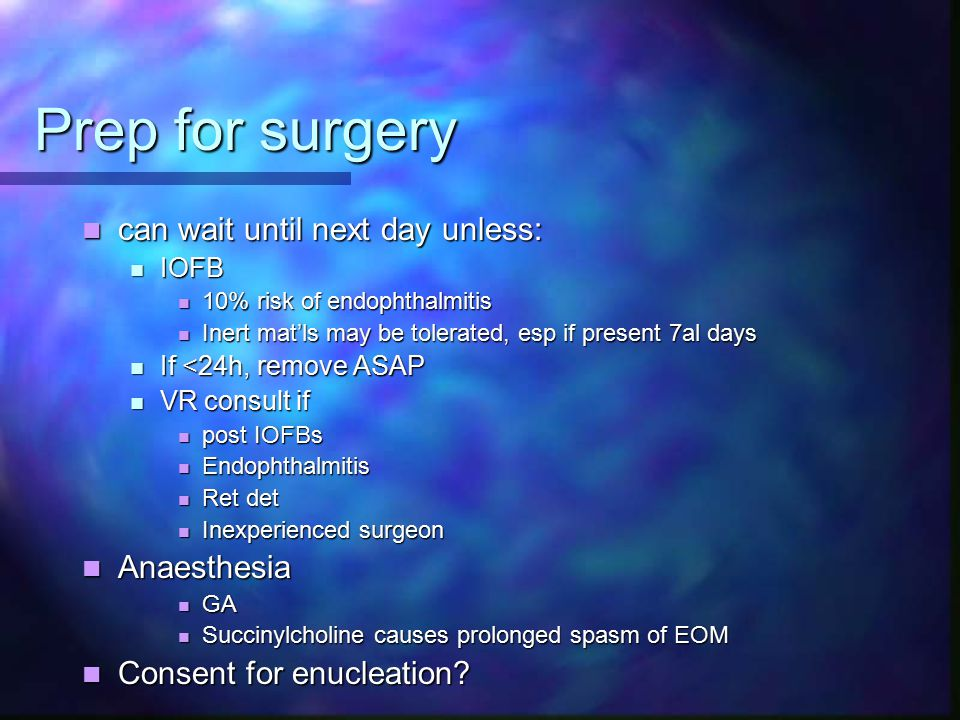Prep for surgery can wait until next day unless: Anaesthesia