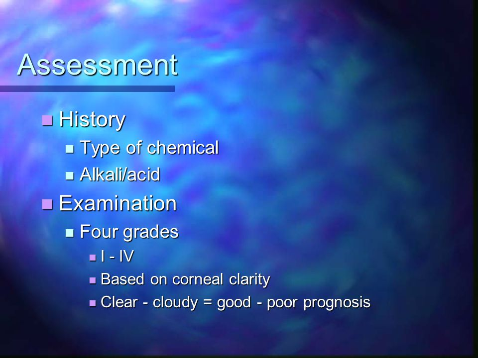 Assessment History Examination Type of chemical Alkali/acid