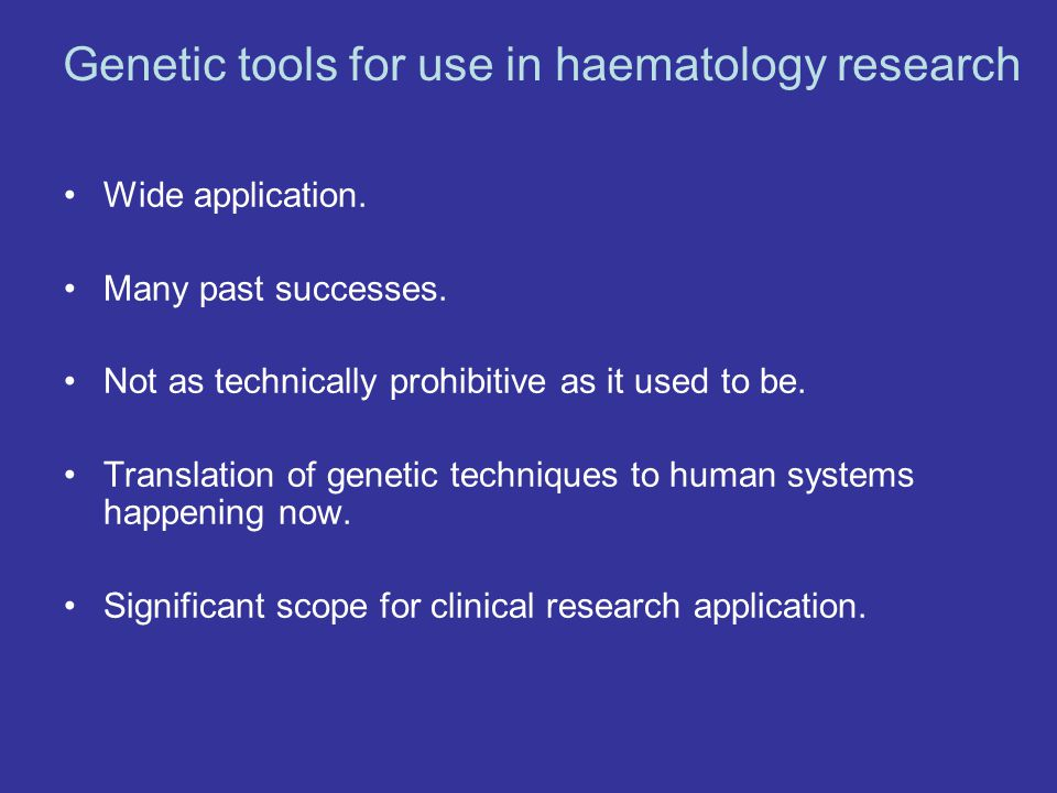Genetic tools for use in haematology research