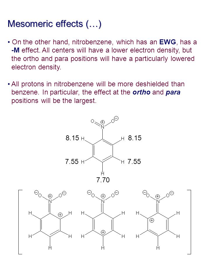 Mesomeric effects (…) On the other hand, nitrobenzene, which has an EWG, has a. -M effect. All centers will have a lower electron density, but.