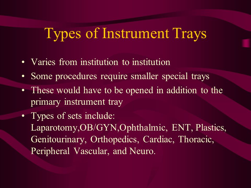 Types of Instrument Trays