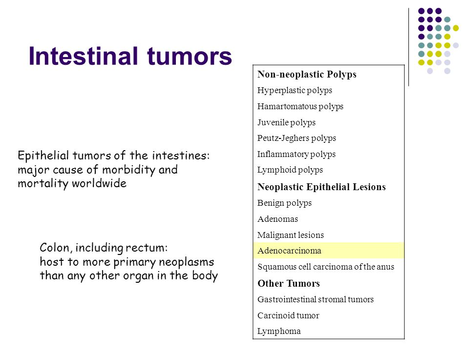 Intestinal tumors Non-neoplastic Polyps. Hyperplastic polyps. Hamartomatous polyps. Juvenile polyps.