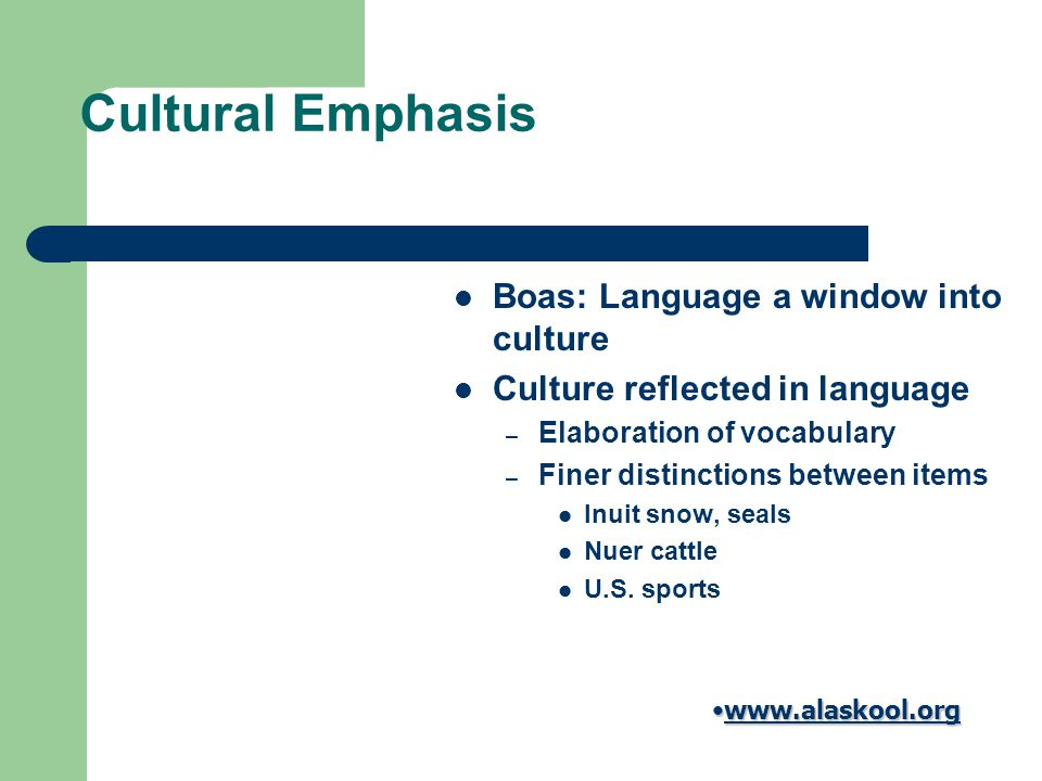 Cultural Emphasis Boas: Language a window into culture