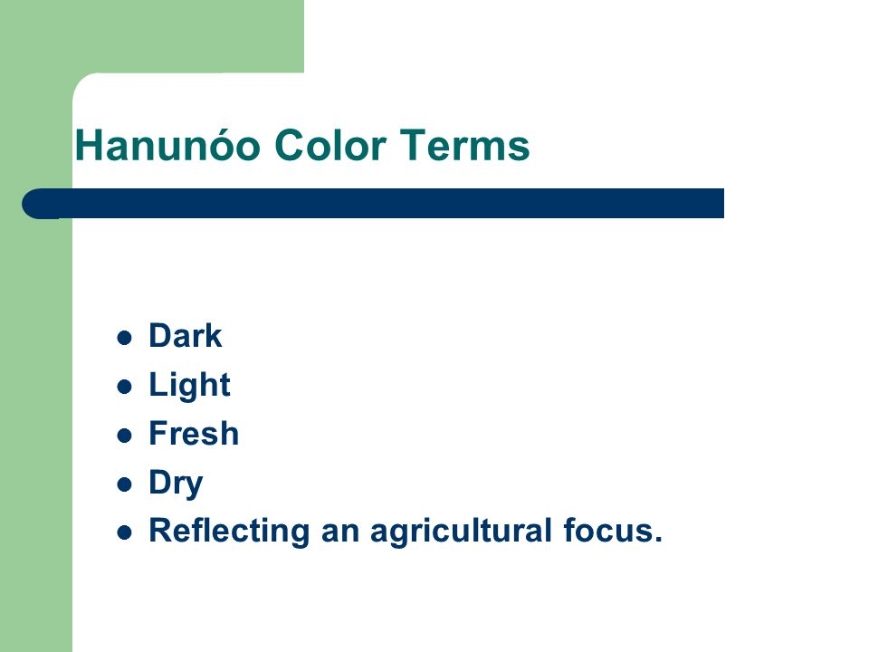 Hanunóo Color Terms Dark Light Fresh Dry