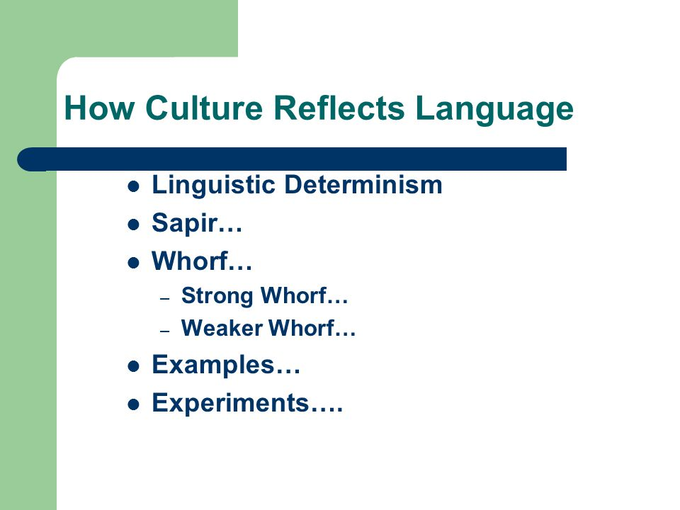 How Culture Reflects Language