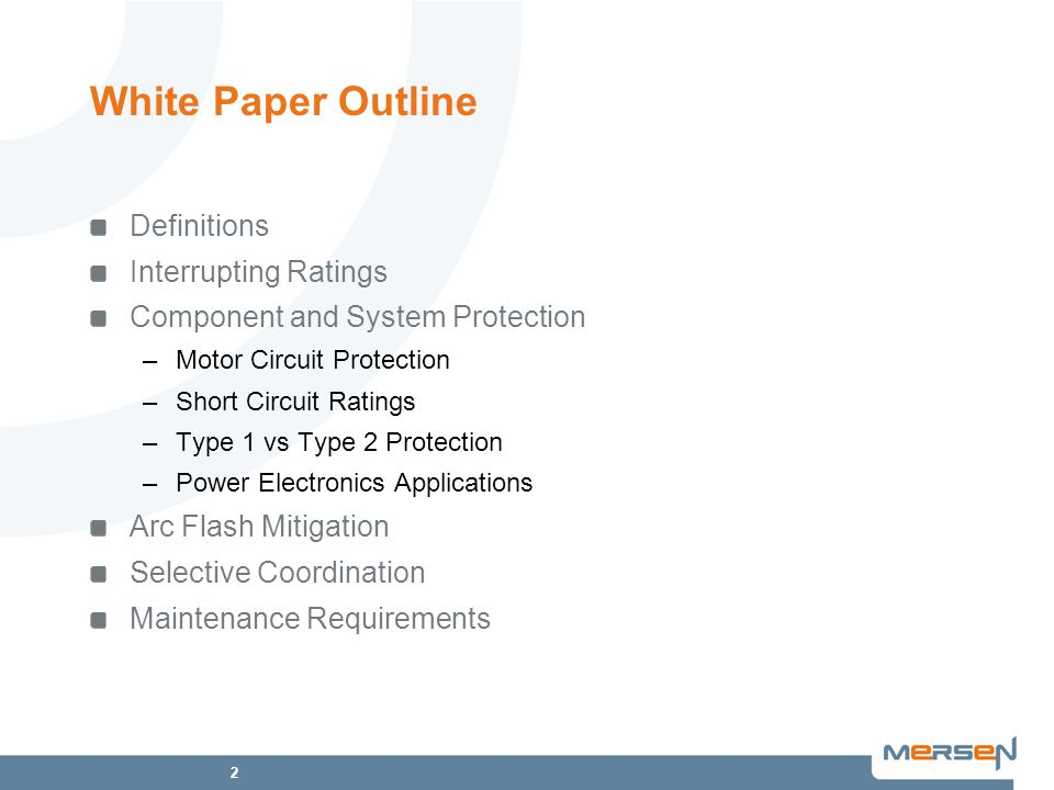 White Paper Outline Definitions Interrupting Ratings