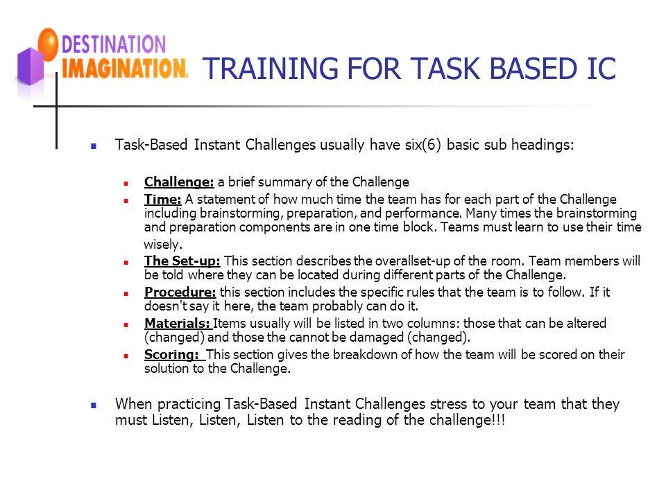 TRAINING FOR TASK BASED IC