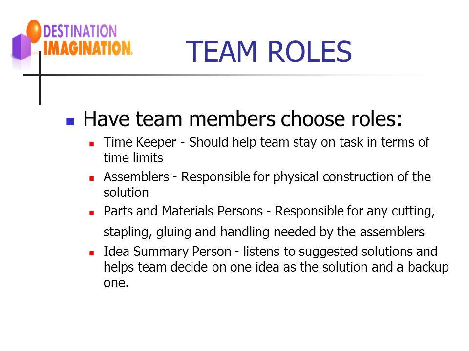 TEAM ROLES Have team members choose roles: