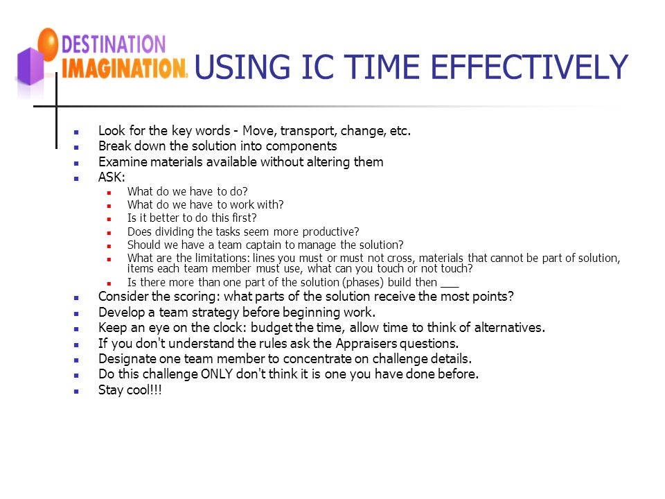 USING IC TIME EFFECTIVELY