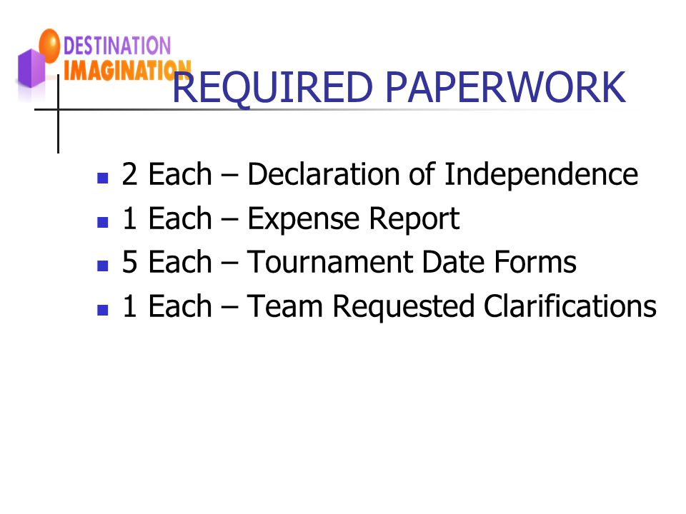 REQUIRED PAPERWORK 2 Each – Declaration of Independence