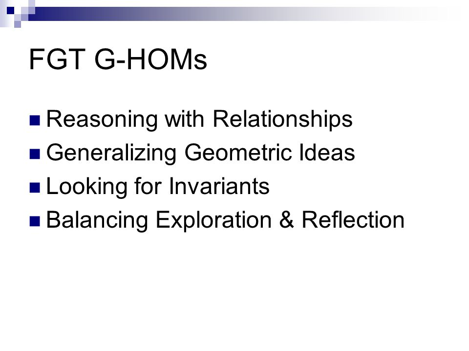 FGT G-HOMs Reasoning with Relationships Generalizing Geometric Ideas