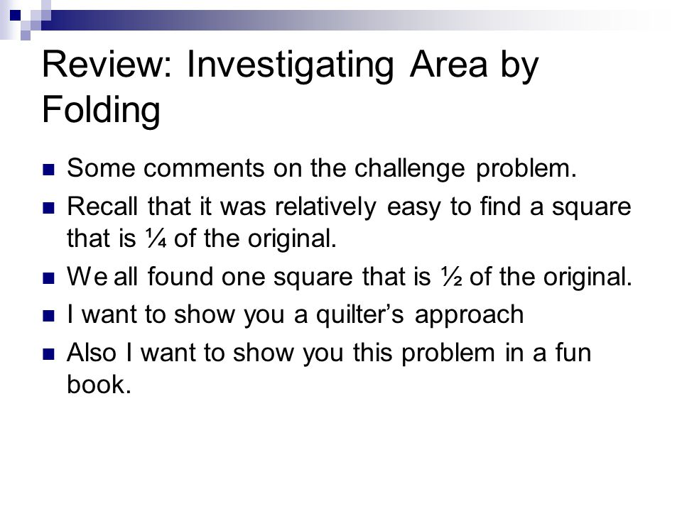 Review: Investigating Area by Folding