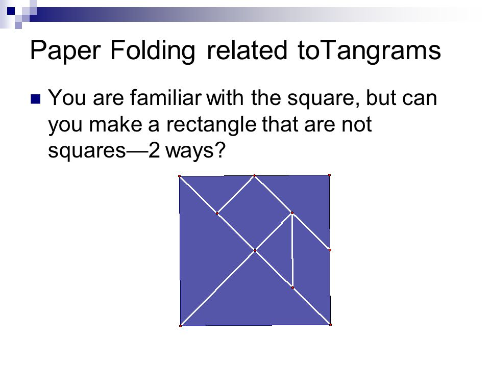 Paper Folding related toTangrams