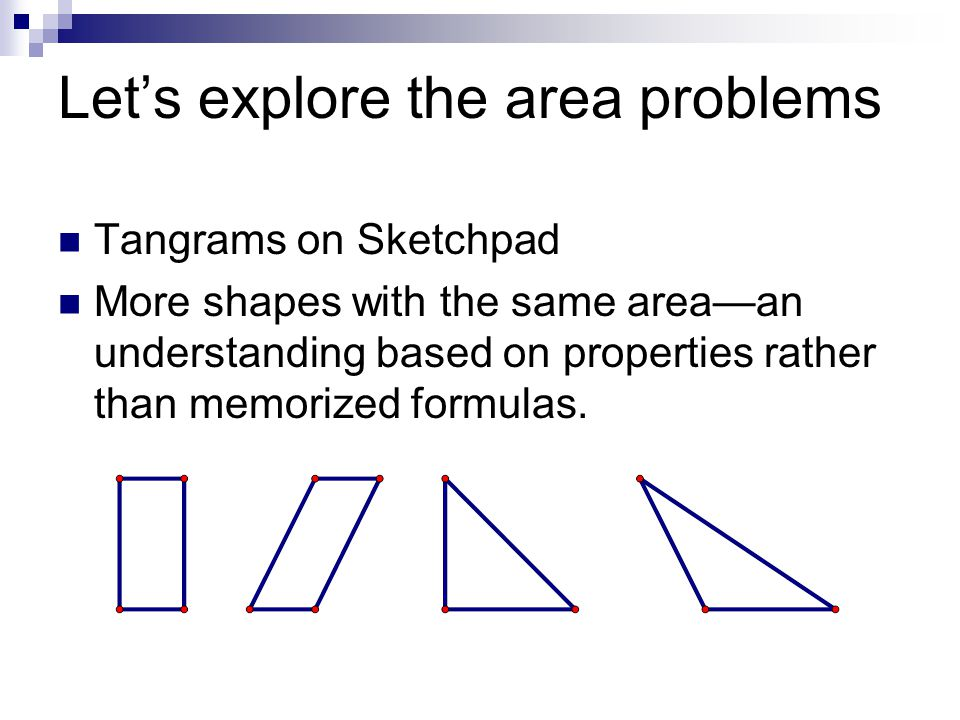 Let's explore the area problems
