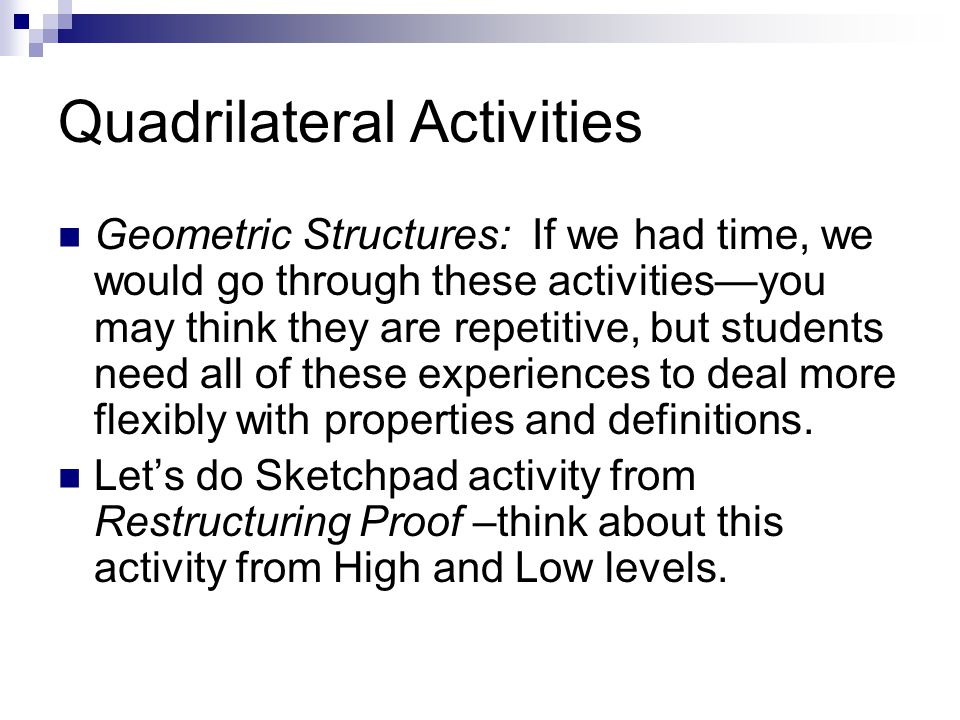Quadrilateral Activities