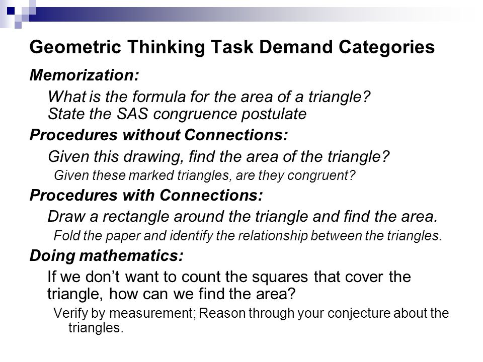 Geometric Thinking Task Demand Categories