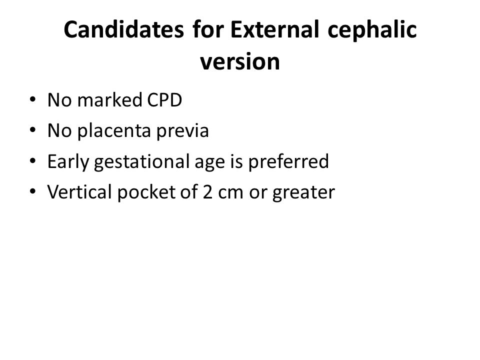 Candidates for External cephalic version