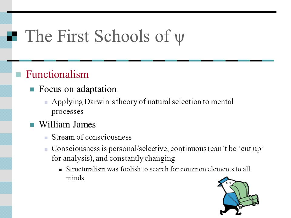 The First Schools of ψ Functionalism Focus on adaptation William James
