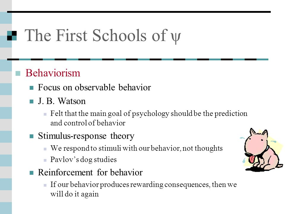 The First Schools of ψ Behaviorism Focus on observable behavior