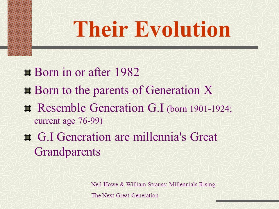 Their Evolution Born in or after 1982
