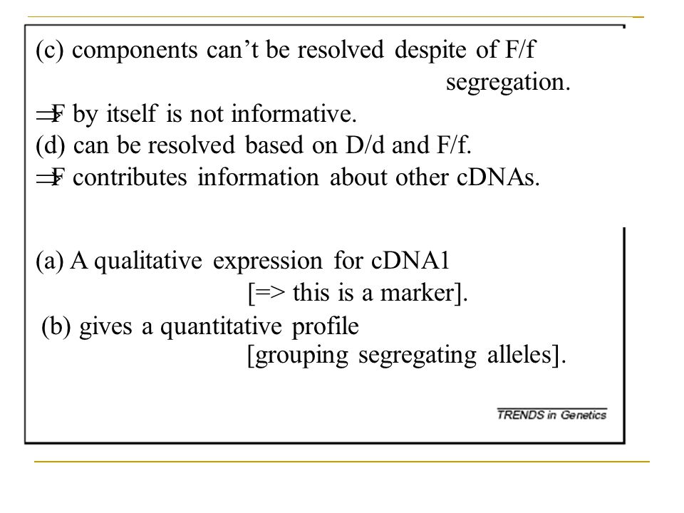 (c) components can't be resolved despite of F/f segregation.