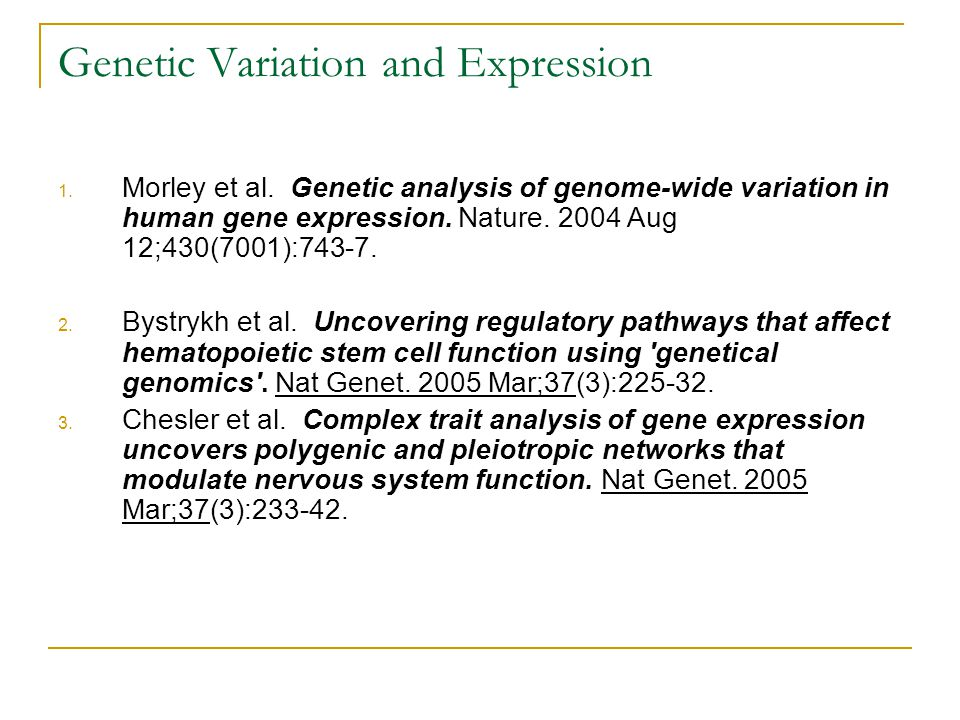 Genetic Variation and Expression