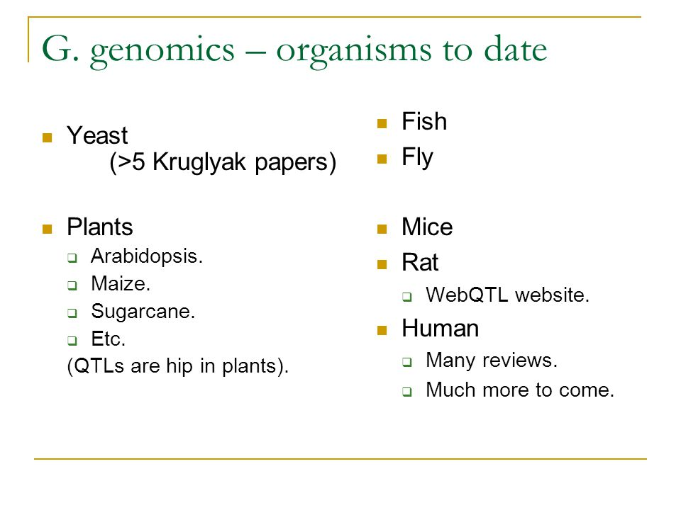 G. genomics – organisms to date