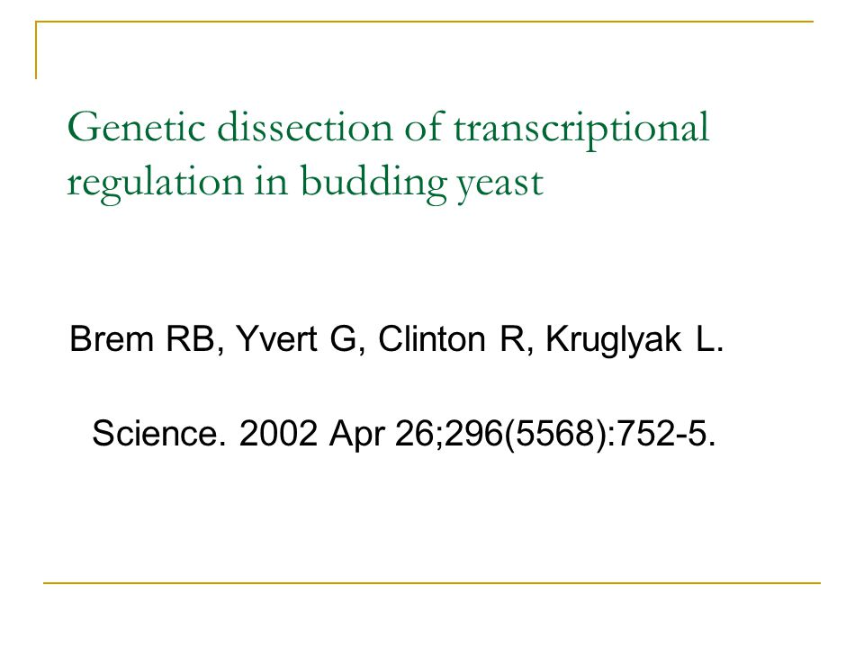Genetic dissection of transcriptional regulation in budding yeast