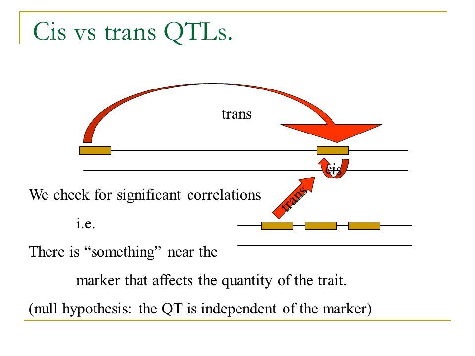Cis vs trans QTLs. trans cis trans