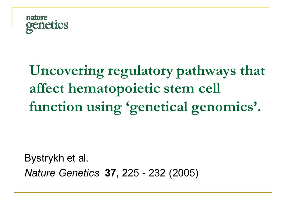 Uncovering regulatory pathways that affect hematopoietic stem cell function using 'genetical genomics'.