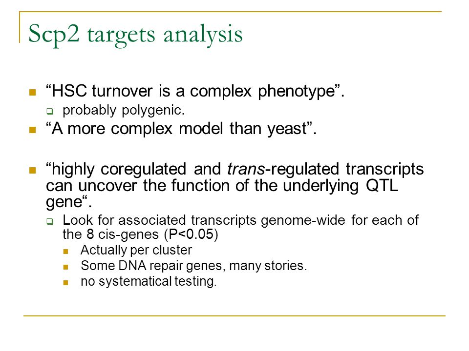 Scp2 targets analysis HSC turnover is a complex phenotype .