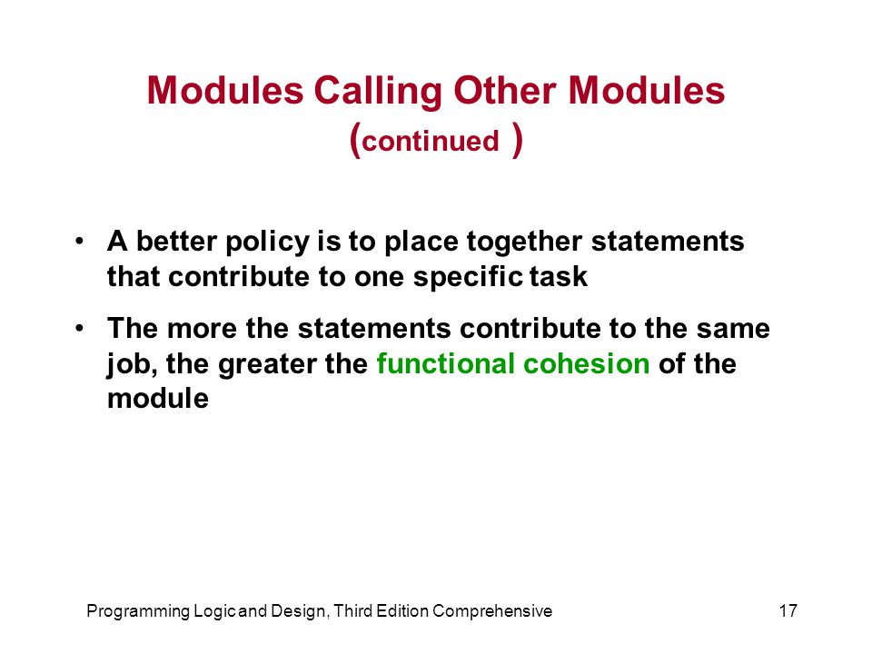 Modules Calling Other Modules (continued )