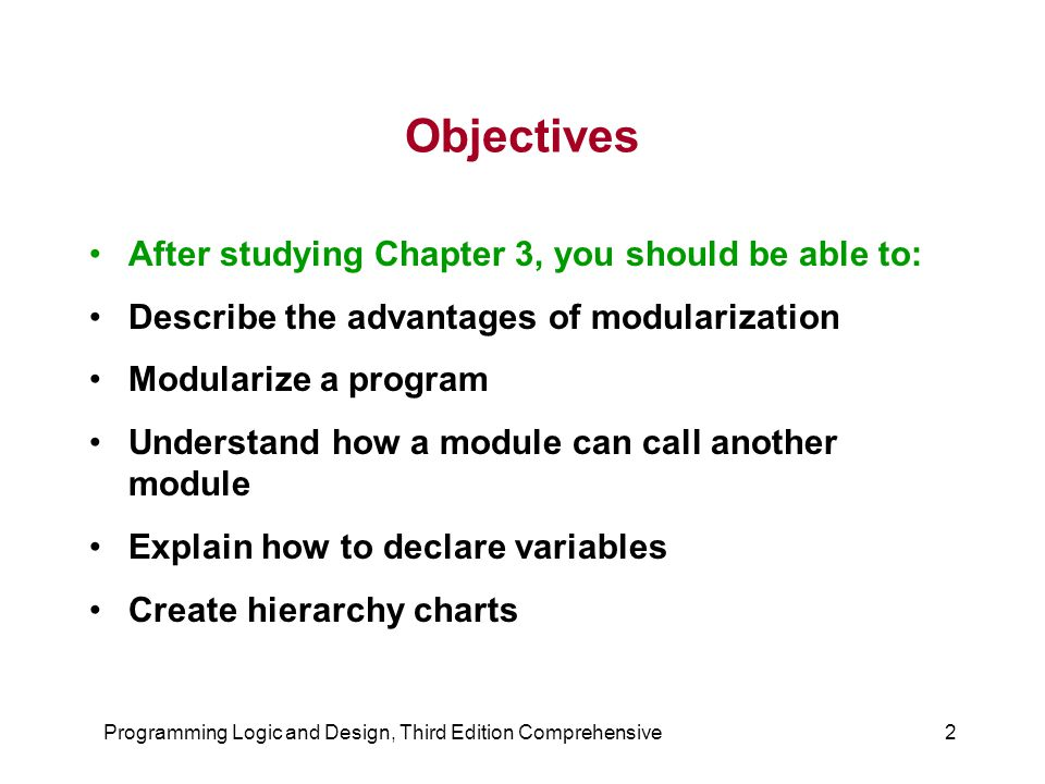 chapter 3 programming logic and design Chapter 1 flashcards glossary book resources student data files video  lessons programming logic and design, comprehensive, 8th edition.