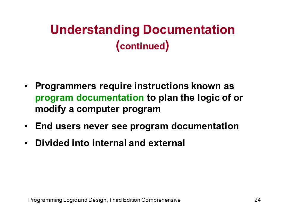 Understanding Documentation (continued)