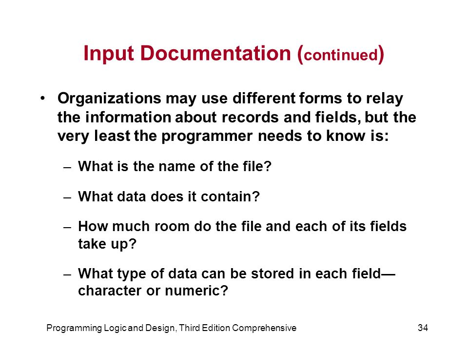 Input Documentation (continued)