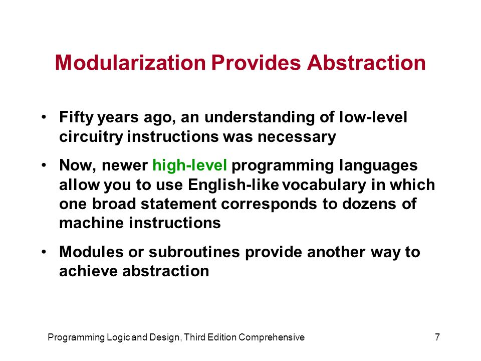 Modularization Provides Abstraction