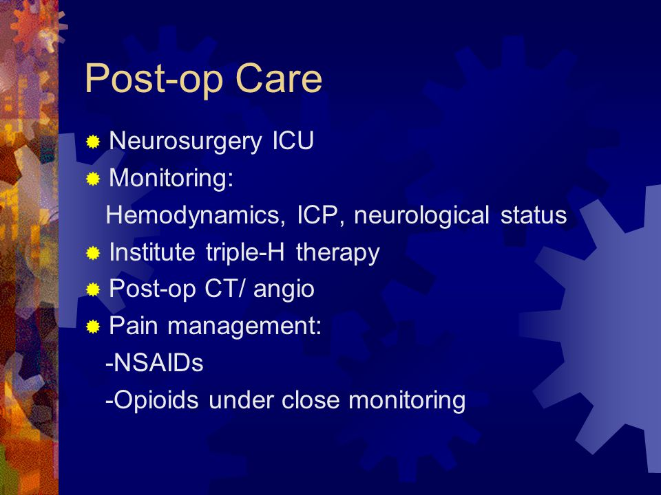 Post-op Care Neurosurgery ICU Monitoring: