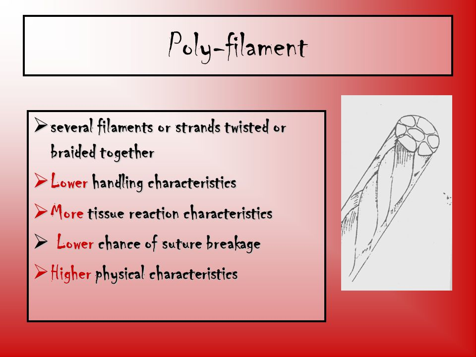 Poly-filament several filaments or strands twisted or braided together