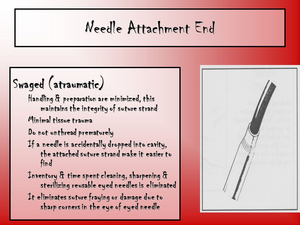 Needle Attachment End Swaged (atraumatic)