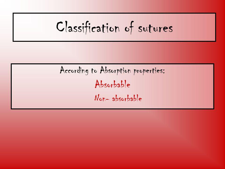 Classification of sutures