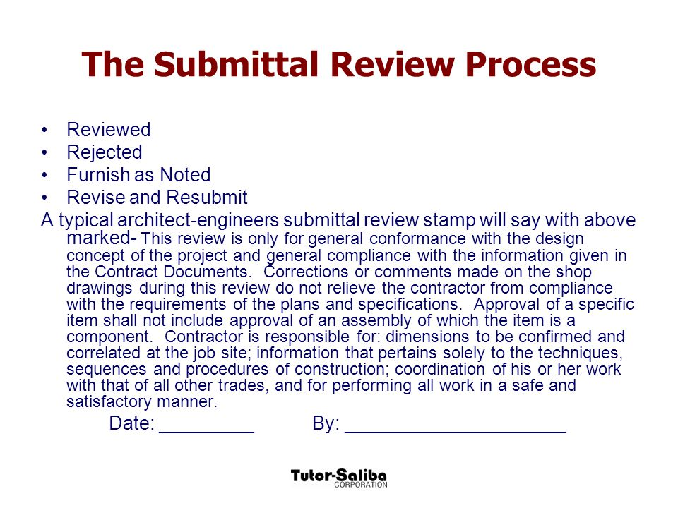 The Submittal Review Process