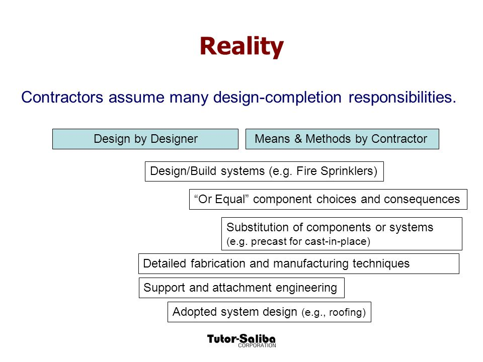 Reality Contractors assume many design-completion responsibilities.