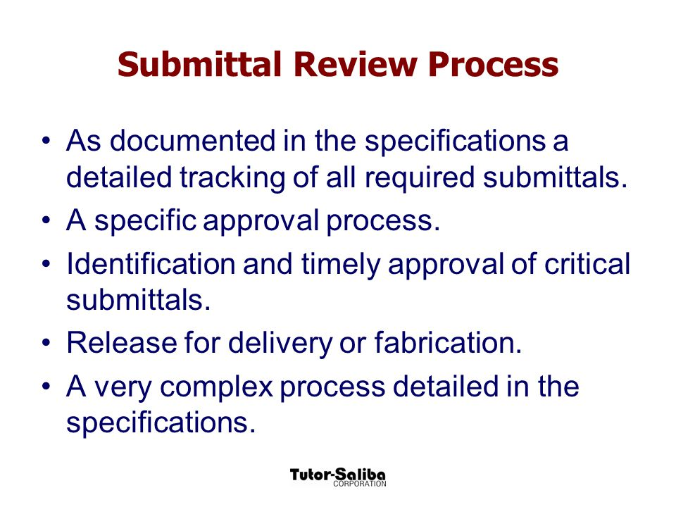 Submittal Review Process